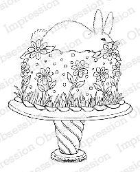 Impression Obsession - Cling Mounted Rubber Stamp - By Tara Caldwell - Bunny Cake