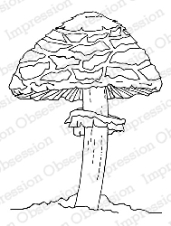 Impression Obsession - Cling Mounted Rubber Stamp - By Dina Kowal - Tall Mushroom