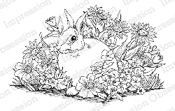 Impression Obsession - Cling Mounted Rubber Stamp - By Tara Caldwell - Rabbit in Garden