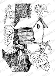 Impression Obsession - Cling Mounted Rubber Stamp - By Tara Caldwell - Birdhouse in Tree