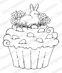 Impression Obsession - Cling Mounted Rubber Stamp - By Tara Caldwell - Bunny Cupcake