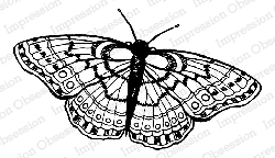Impression Obsession - Cling Mounted Rubber Stamp - By Tara Caldwell - Sketched Butterfly