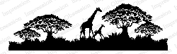Impression Obsession - Cling Mounted Rubber Stamp - By Gail Green - Giraffe Scene