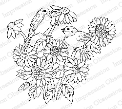 Impression Obsession - Cling Mounted Rubber Stamp - By Gail Green - Bird with Sunflowers