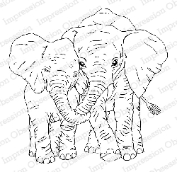 Impression Obsession - Cling Mounted Rubber Stamp - By Gail Green - Elephant Love
