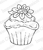 Impression Obsession - Cling Mounted Rubber Stamp - By Tara Caldwell - Flower Cupcake