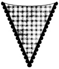 Impression Obsession - Cling Stamp - Gingham Scallop Flag - By Alesa Baker