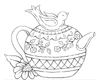 Impression Obsession Cling Mounted Rubber Stamp by Tara Caldwell - Bird Teapot