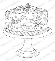 Impression Obsession - Cling Mounted Rubber Stamp - By Tara Caldwell - Holly Cake