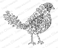 Impression Obsession - Cling Mounted Rubber Stamp - By Alesa Baker - Floral Bird