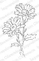 Impression Obsession - Cling Mounted Rubber Stamp - by Alesa Baker - Double Daisies Small