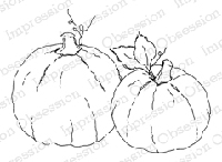 Impression Obsession - Cling Mounted Rubber Stamp - By Alesa Baker - Pumpkin Pair