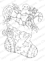 Impression Obsession - Cling Mounted Rubber Stamp - By Tara Caldwell - Candy Stocking