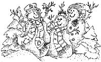 Impression Obsession - Cling Mounted Rubber Stamp - Snowman Trio