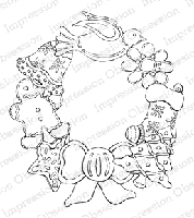 Impression Obsession - Cling Mounted Rubber Stamp - By Tara Caldwell - Cookie Wreath