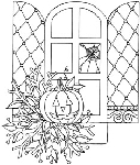 Impression Obsession Cling Mounted Rubber Stamp - Halloween Window