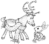Impression Obsession - Cling Mounted Rubber Stamp - Reindeer with Bunny