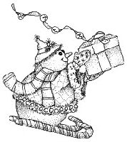 Impression Obsession - Cling Mounted Rubber Stamp - Sledding Snowman