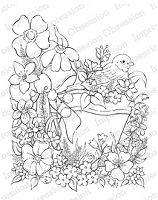 Impression Obsession Cling Mounted Rubber Stamp by Tara Caldwell - Bird in Flower Pot