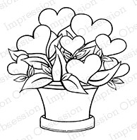 Impression Obsession - Cling Mounted Rubber Stamp - By Tara Caldwell - Heart Arragement