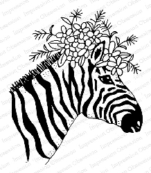 Impression Obsession - Cling Mounted Rubber Stamp - By Gail Green - Floral Zebra