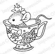 Impression Obsession - Cling Mounted Rubber Stamp - By Carmen Medlin - Tea Cup Mouse