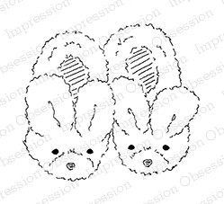 Impression Obsession - Cling Mounted Rubber Stamp - By Alesa Baker - Baby Bunny Slippers
