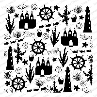 Impression Obsession - Cling Mounted Rubber Stamp - Cover A Card - Beach Fun