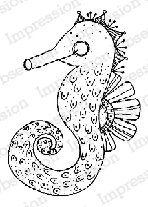 Impression Obsession - Cling Mounted Rubber Stamp - By Lindsay Ostrom - Alexis the Seahorse
