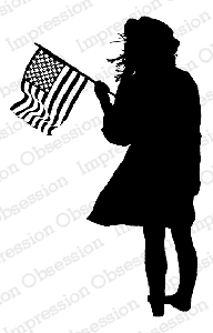 Impression Obsession - Cling Mounted Rubber Stamp - By Dina Kowal - Flag Girl Silhouette