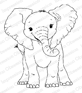 Impression Obsession - Cling Mounted Rubber Stamp - By Dina Kowal - Baby Elephant