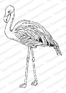 Impression Obsession - Cling Mounted Rubber Stamp - By Tara Caldwell - Flamingo