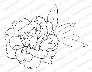 Impression Obsession - Cling Mounted Rubber Stamp - By Alesa Baker - Ruffled Peony