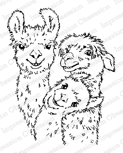Impression Obsession - Cling Mounted Rubber Stamp - By Gail Green - Llama Trio