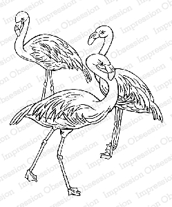 Impression Obsession - Cling Mounted Rubber Stamp - By Tara Caldwell - Flamingo Trio