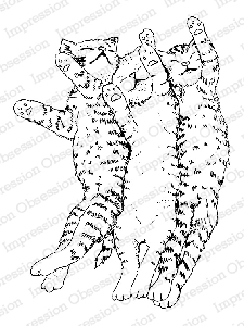 Impression Obsession - Cling Mounted Rubber Stamp - By Gail Green - Sleeping Kitty Trio