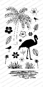 Impression Obsession - Clear Stamp - By Tara Caldwell - Floral Flamingo