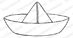 Impression Obsession - Cling Mounted Rubber Stamp - By Alesa Baker - Sketched Paper Boat