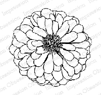 Impression Obsession - Cling Mounted Rubber Stamp - By Tara Caldwell - Large Zinnia