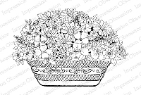 Impression Obsession - Cling Mounted Rubber Stamp - By Tara Caldwell - Large Flower Basket