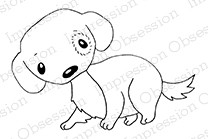 Impression Obsession - Cling Mounted Rubber Stamp - By Gail Green - Cute Dog