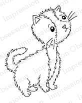 Impression Obsession - Cling Mounted Rubber Stamp - By Gail Green - Cute Cat