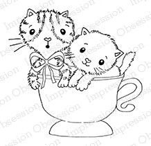 Impression Obsession - Cling Mounted Rubber Stamp - By Gail Green - Kittens in a Cup