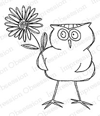 Impression Obsession - Cling Mounted Rubber Stamp - By Gail Green - Owl with Flower