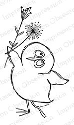 Impression Obsession - Cling Mounted Rubber Stamp - By Gail Green - Owl with 2 Flowers