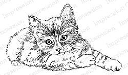 Impression Obsession - Cling Mounted Rubber Stamp - By Gail Green - Cat Sitting