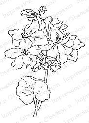 Impression Obsession - Cling Mounted Rubber Stamp - By Alesa Baker - Frilly Floral 3