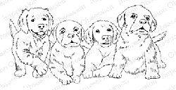 Impression Obsession - Cling Mounted Rubber Stamp - By Gail Green - Four Dogs