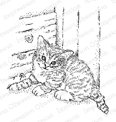 Impression Obsession - Cling Mounted Rubber Stamp - By Gail Green - Cat in a Corner