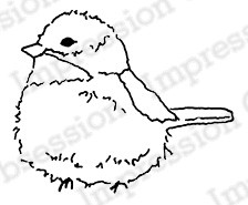 Impression Obsession - Cling Mounted Rubber Stamp - By Alesa Baker - Fluffy Chickadee